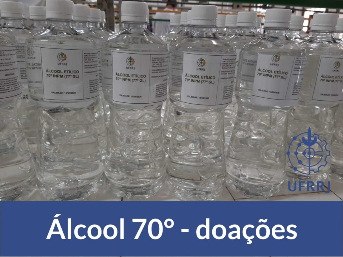 Álcool 70° produzido pela UFRRJ para distribuição no período da pandemia do covid-19.