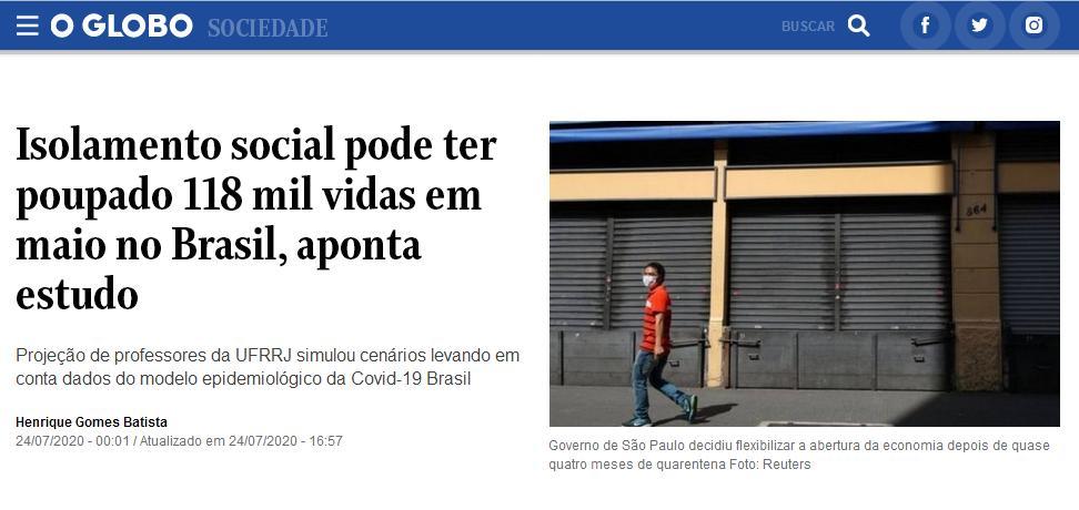 Jornal O Globo destacou estudo do PPGER/UFRRJ
